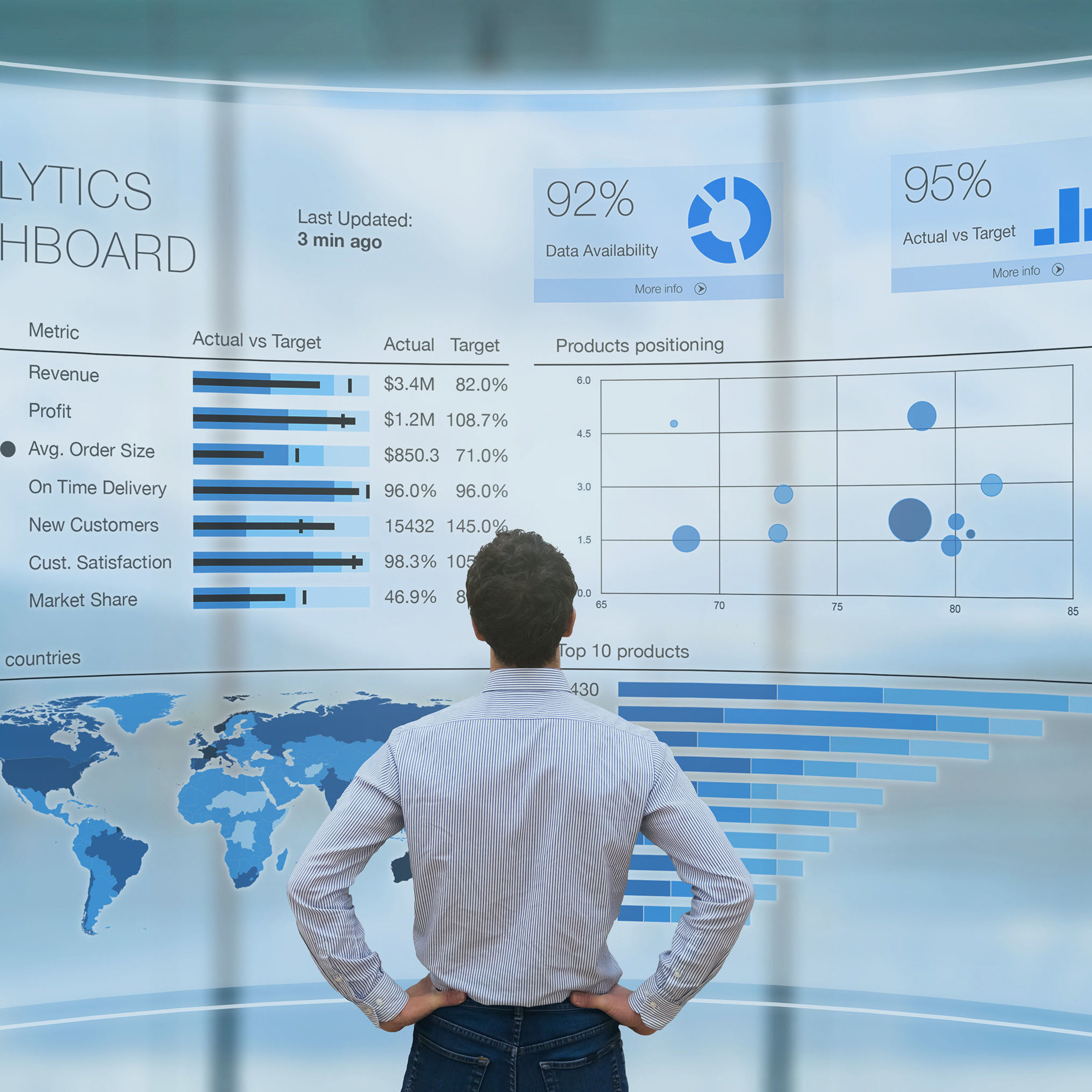 man analysing business charts